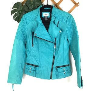 Neiman Marcus | NWOT Blue Teal Leather Moto Jacket